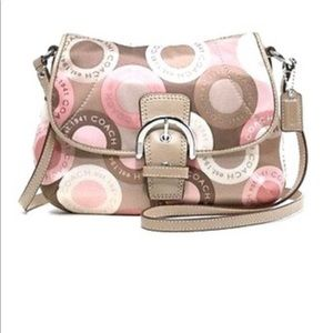 Coach soho snap head satin cross body purse